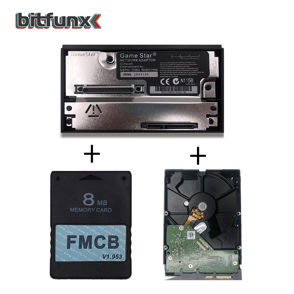 Adaptateur BitFunx 8MB v1.953 FMCB + SATA HDD + 320GB SATA HDD avec 70 jeux installés pour console PS2 FAT (30000 ou 50000)
