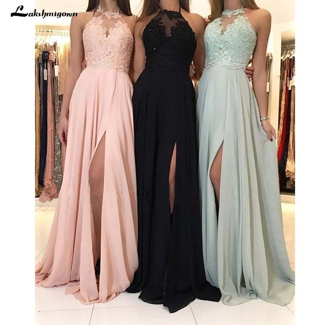 Halter Neck Chiffon Bridesmaid Dresses Appliques A Line Wedding Guest Dresses Simple Long Vestido Longo Rosa In Bridesmaid Dresses From Weddings