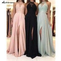 Halter Neck Chiffon Bridesmaid Dresses Appliques A Line Wedding Guest Dresses Simple Long vestido longo rosa