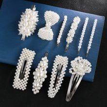 NEW 1PC Women Full Pearl Hair Clips Snap Barrette Stick Hairpins Styling Tools Accessories G0315