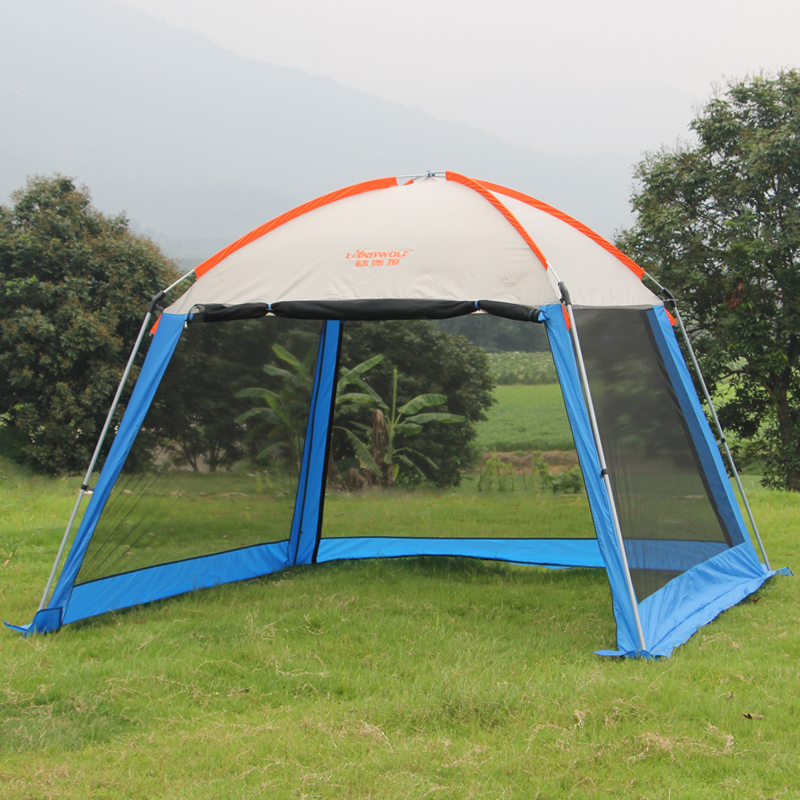 Outdoor recreation sun awning tent double canopy large camping Summer beach tent 6 persons waterproof folding gazebo for garden octagonal outdoor camping tent large space family tent 5 8 persons waterproof awning shelter beach party tent double door tents