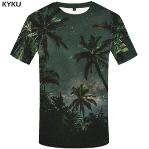 3d Tshirt Coconut Tree T shirt Men Forest Anime Clothes Galaxy Space Tshirt Printed Harajuku Shirt Print Green T-shirts 3d(China)