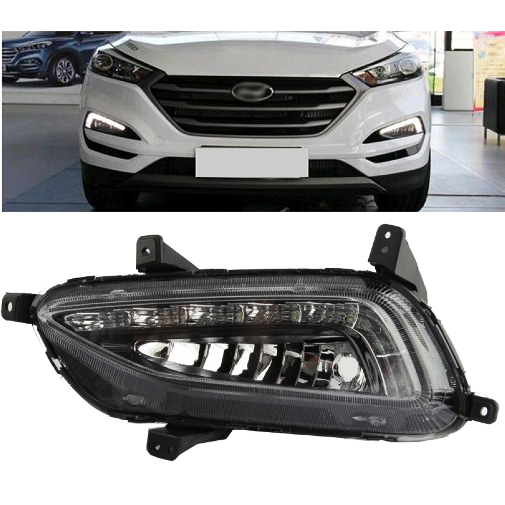 Car styling 2Pcs White Daytime Running Light DRL LED Fog Lamp for Hyundai Tucson 2016 2017 4pcs set smoke sun rain visor vent window deflector shield guard shade for hyundai tucson 2016