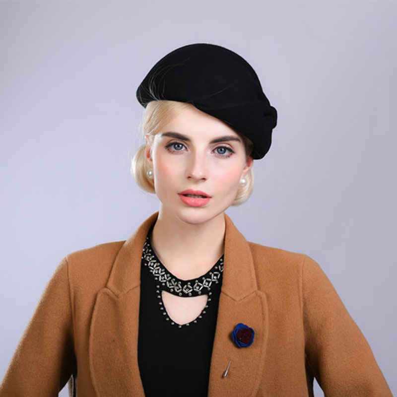 4d24526c68890 FS de ala ancha blanco sombreros de lana arco Bowler sombrero Fedora para  mujer Chapeau Femme. Fibonacci Noble elegante mujeres lana fieltro boina ...