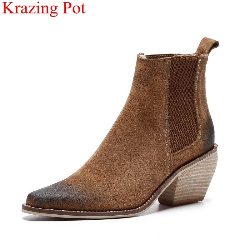 véritable rétro mélangées bande L03 femmes piste talons hauts couleurs cuir d'hiver mature chaussures bottines Nouveauté mujer en in élastique xerdCBWo
