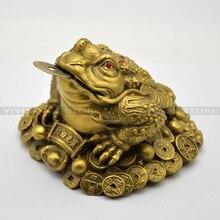 Фэн Шуй Малый трехногий деньги для лягушка Фортуна латунь китайская жаба монет металл ремесло Домашний Декор подарок украшения интимные аксессуары