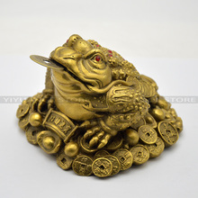Feng Shui Small Three Legged Money For Frog Fortune Brass Toad Chinese Coin Metal Craft Home Decor Gift Decoration Accessories