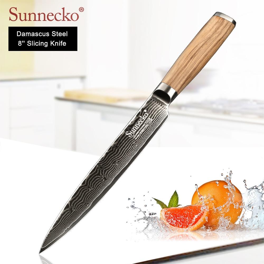 SUNNECKO 8 inch Slicing Kitchen Knife Damascus Japanese VG10 Steel Sharp Blade Knives Original Wood Handle