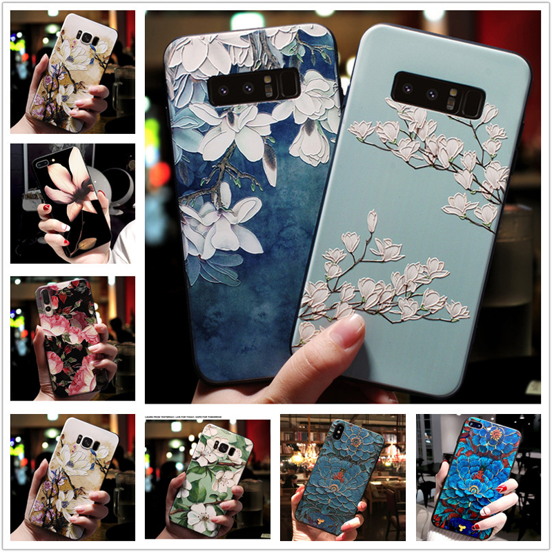 For <font><b>Oneplus</b></font> 7 Pro <font><b>Case</b></font> <font><b>3D</b></font> Flower Emboss Soft Silicone Back Cover For One Plus <font><b>6</b></font> 5 5T oneplus7 7Pro Phone <font><b>Cases</b></font> oneplus5t 5 t image
