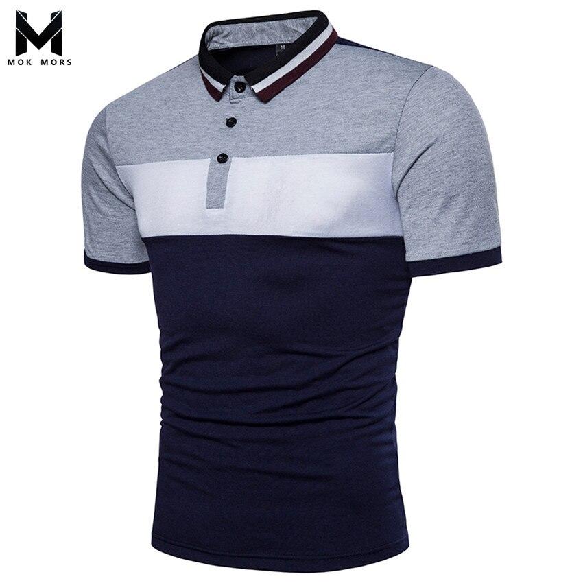2018 Men's New Casual Street Mosaic Hit Color Mens   Polo   Shirt Fashion Brand High Quality Breathable Men   Polo   Shirt Short Sleeve