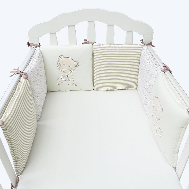 6Pcs/Lot Baby Bed Protector Crib Bumper Pads Baby Bed Bumper In The Crib Cot Bumper Safety Cotton Blend Cartoon Baby Bedding Set