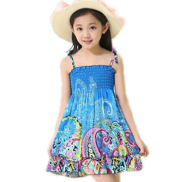 9a7e264708f5 Kid s Girl s Dresses Beach Flower Dress Bohemian Girls Summer Princess  Dress Knee-length Cotton Dresses Children Cloting 2-10T