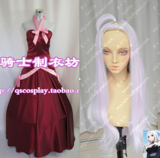Sur mesure Cosplay Costume Fairy Tail Mirajane Strauss Robe + Sacoche + Perruque