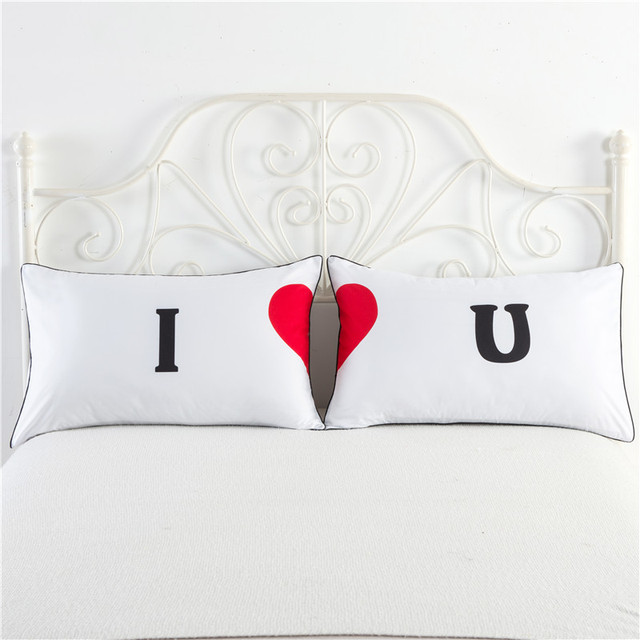 2017 new arrival valentines day pillow cover present lovers use i love u white color pillowcase - Valentine Pillow