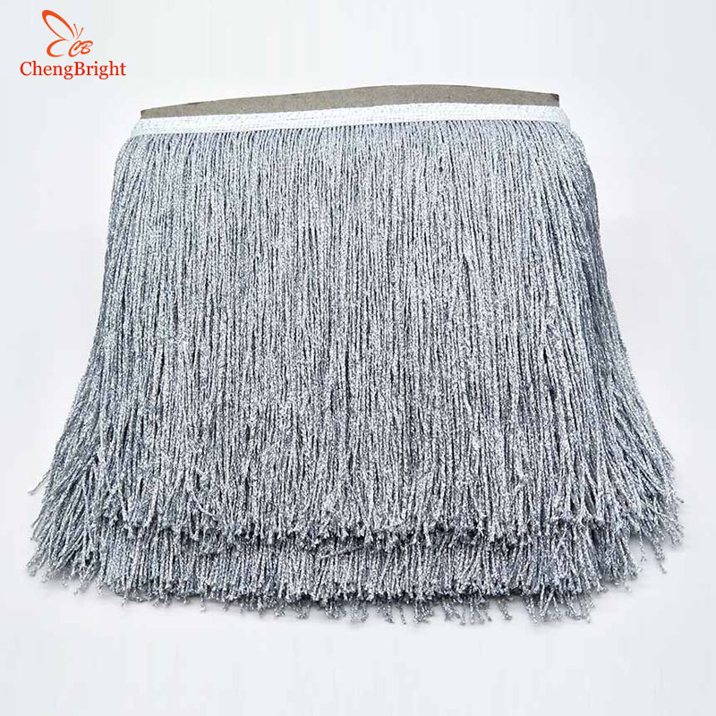 CHENGBRIGHT 1Yards 20cm Wide Silver Lace Fringe Trim Tassel Fringe Trimming For Latin Dress Stage Clothes Accessorie Lace Ribbon