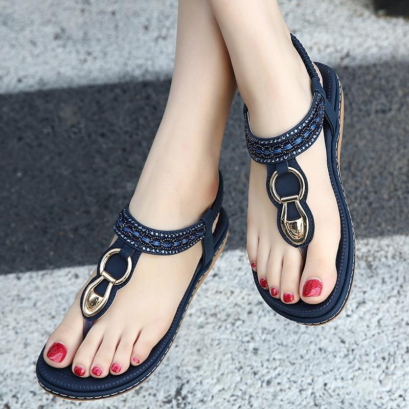 Summer Sandals Women Bohemia Rhinestone Flat Sandals Ladies Beach Shoes Sandals Platform Clip Toe Shoes BIG SIZE