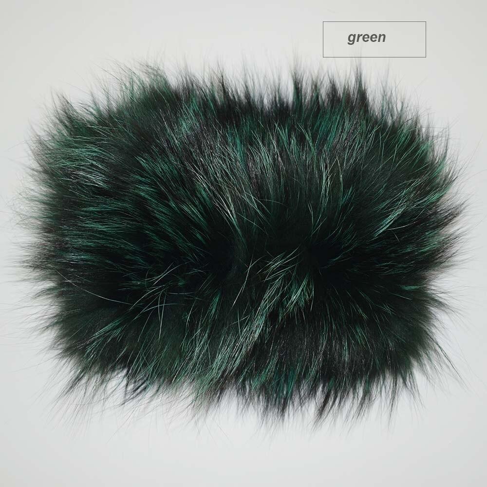 fox fur headband color green
