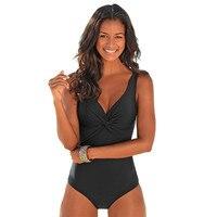 Plus Size One Piece Swimsuit Women Swimwear Solid Monokini Maillot De Bain Femme Bodysuit Female Bathing