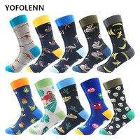 10 Pairs/Lot Fashion Men's Combed Cotton Socks Novelty Koala Alien kangaroo Pattern Cool Crew Funny Skateboard Happy Socks
