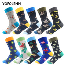 10 Pairs/Lot Fashion Men's Combed Cotton Socks Novelty Koala Alien kangaroo Pattern Cool Crew Funny Skateboard Happy Socks