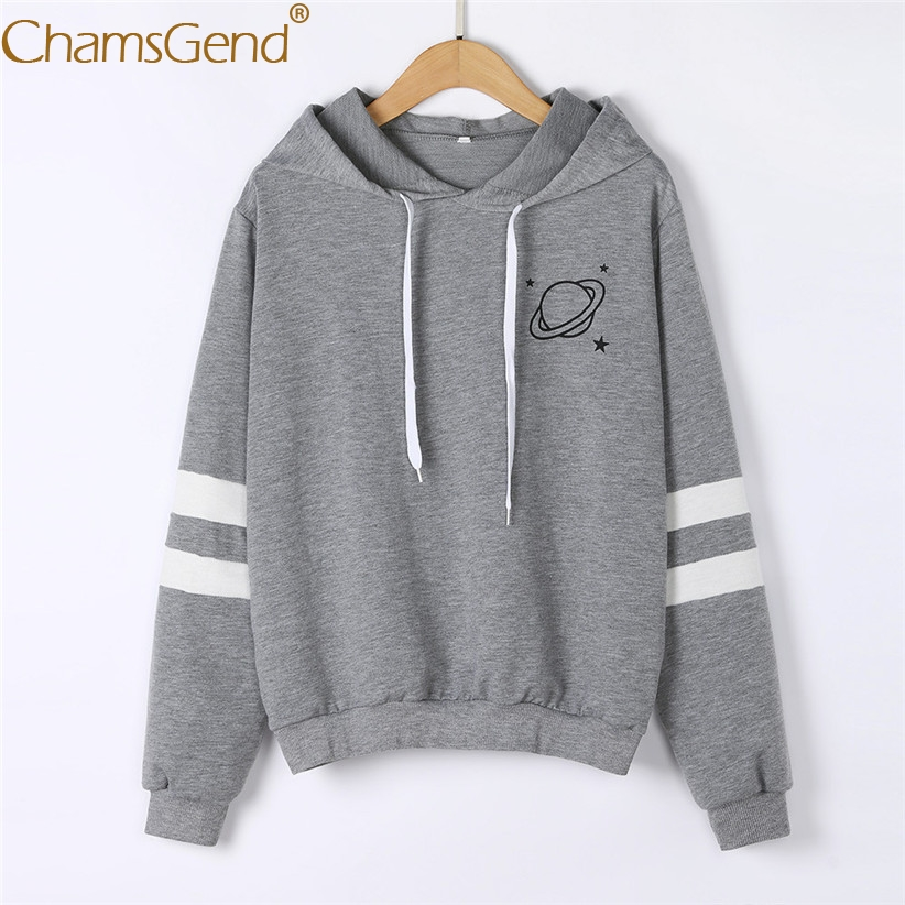Chamsgend Hoodies Women Sweatshirt Casual Planet Print Striped Long Sleeve Hoody Shirt Blouse Jumper Tops For Female 80109