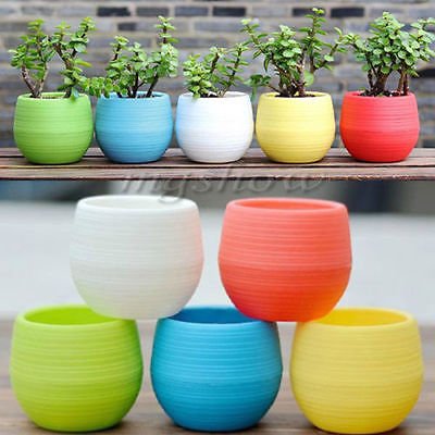 AliExpress & US $0.61 41% OFF|Cute Little Flower Bowl Colourful Mini Round Plastic Plant Flower Pot Garden Home Office Decor Planter Home Office Decor Planter-in ...