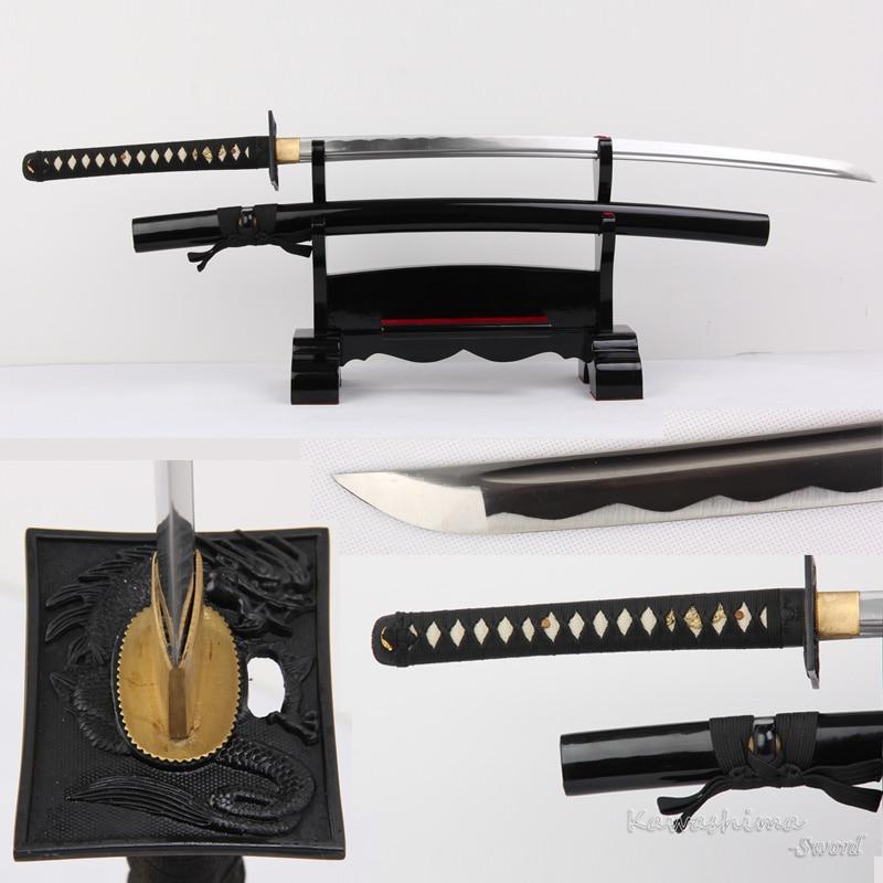 Épée Iaito forgée à la main Katana japonaise véritable lame en acier pas de tranchant/tranchant pour la pratique-Dragon carré Tsuba pleine Tang