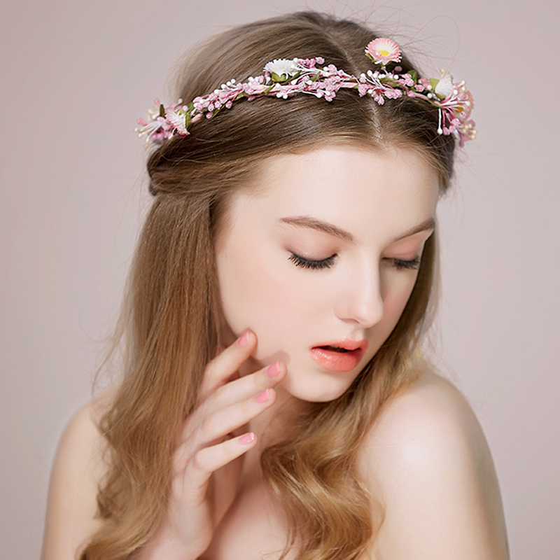 Pink Flower Crown Wedding Headpiece Bridal Headband In Hair Jewelry From Accessories On