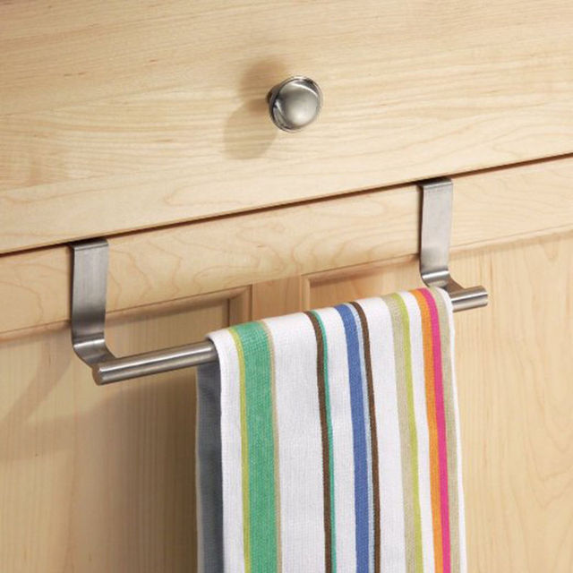 Stainless Steel Dish Towel Bar Holder Rail Hanger Cabinet Cupboard Door Hanging Rack Kitchen Organizer Accessories