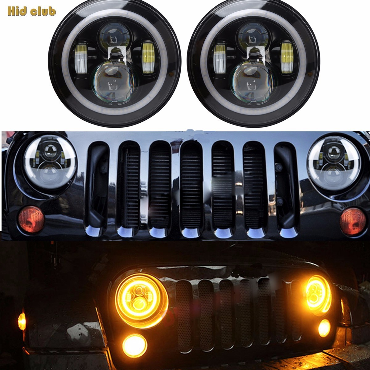 HID CULB  60W 7 Round Led Headlight For Jeep JK/TJ/LJ/CJ F With Cree Chips LED Driving Light And For Hummer Defender cree 7 40w led headlight high low beam round led driving lamp head lights for jeep wrangler jk tj lj cj for hummer h1 h2