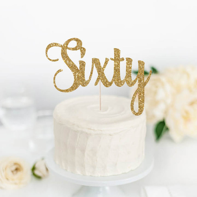 Sixty Cake Topper60th Birthday Gold Glitter TopperCustom Number TopperMilestone Ideagold Party Supplies