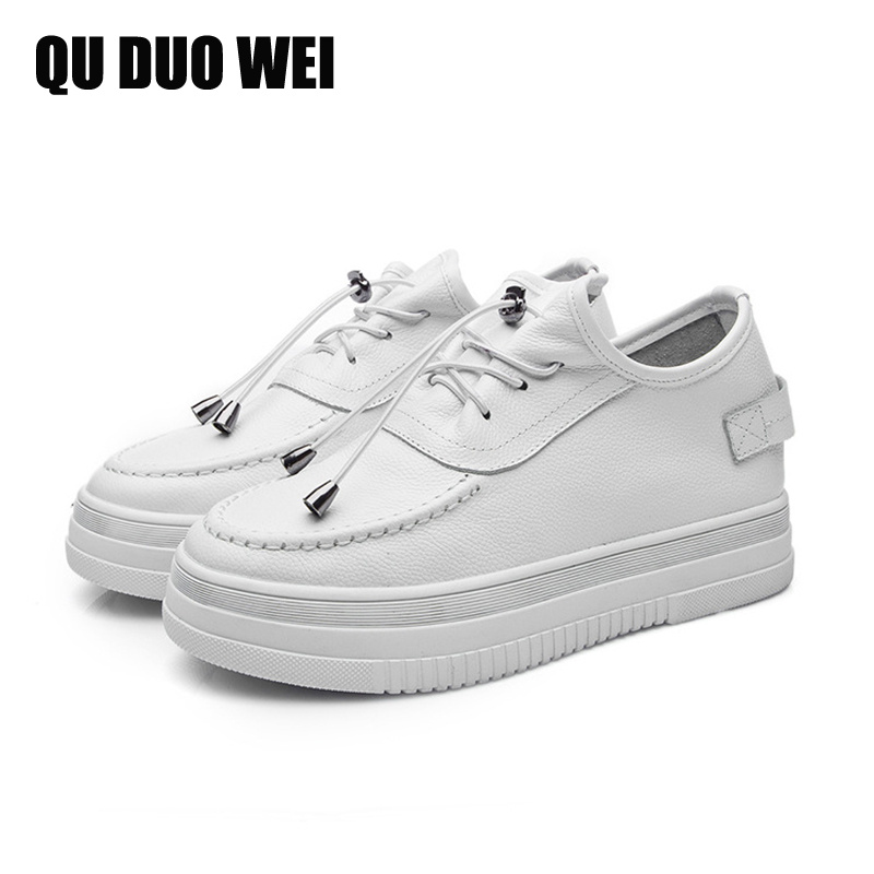 2018 New Genuine Leather Women White Sneakers Thick Flat Platform Solid Color Women Flats Shoes Pigskin Sole Casual Spring Shoes instantarts women flats emoji face smile pattern summer air mesh beach flat shoes for youth girls mujer casual light sneakers