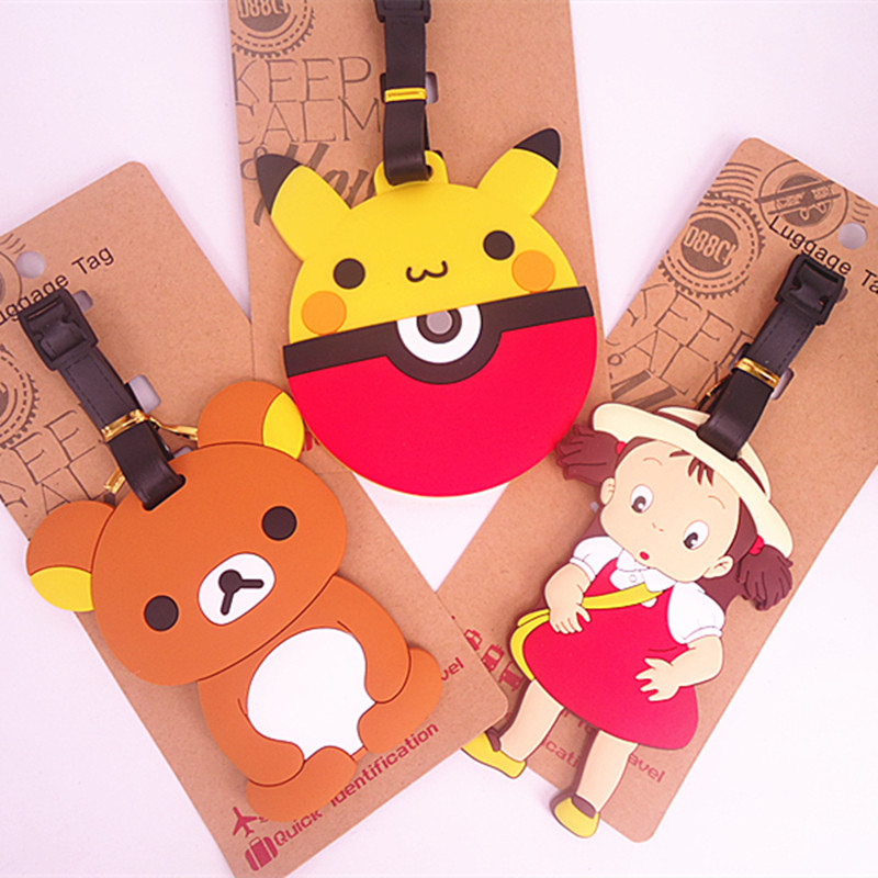 Luggage Tag Travel Accessories Cute Cartoon Series Lazy Bear Silica Gel Travel Tags Suitcase Label Wholesale