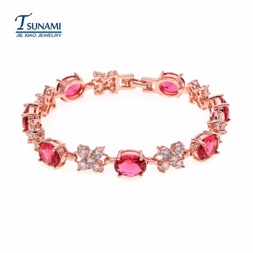 Deluxe four kinds of color rose gold zircon bracelet Jewelry for women/girls SL-004