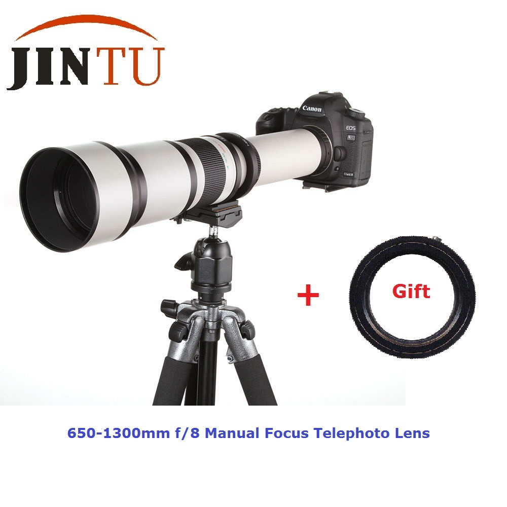 JINTU 650-1300mm f/8-16 professionnel souper téléobjectif Zoom pour Canon T1I XT XTI XS XSI 6D 60D 70D 5DIII 90D 750D 650D 800D