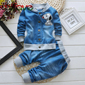 2015 Autumn Winter Casual Sets V-neck Character Denim Long Sleeve Single Breasted Sweater+pants Suit Sets for Boys Children
