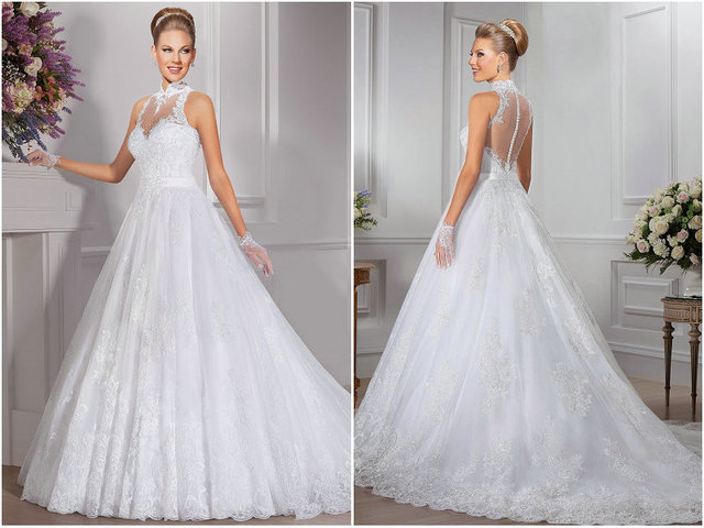 High neck lace wedding dress applique a line wedding gown bridal