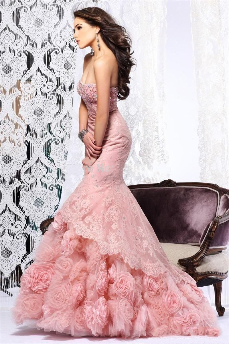 a66a6f285656c Gorgeous Beaded Strapless Pink Lace Evening Dresses 2016 Exquisite ...