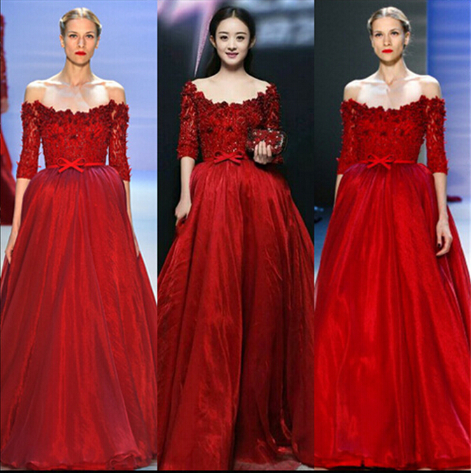 Vestido De Festa Hot Sexy Boat Neck Red Long Evening Gown 2018 Half Sleeves Robe De Soiree Formal Mother Of The Bride Dresses