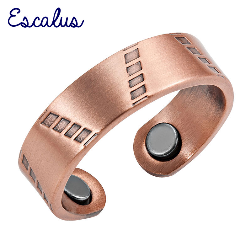 Escalus Ladies Gift Antique Copper Stylish Fashion Magnetic Ring Resizable Female Magnets Women Jewelry Charm Finger Wear