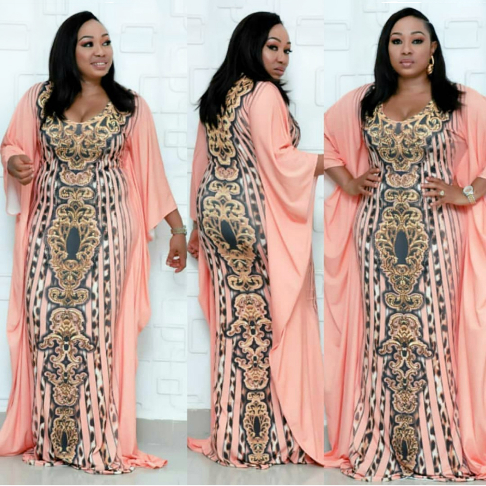 Ankara African Dresses For Women 2019 New African Clothing African Leopard Print Dress Long Loose Maxi Robe Africaine Femme