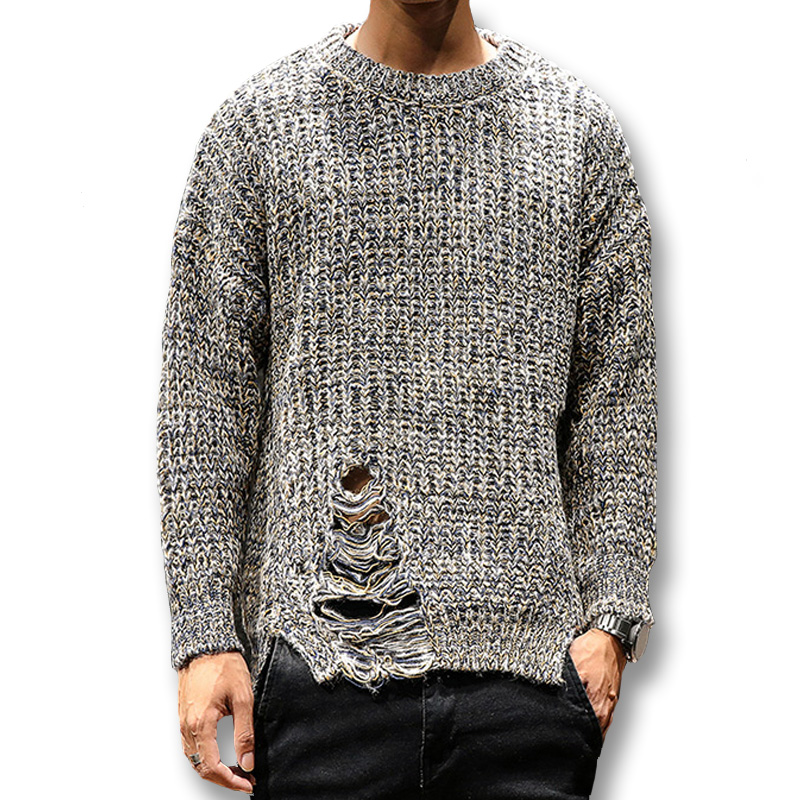 Isurvivor Knitwear Men Sweaters Pullovers O-Neck Male Casual Fashion Hole Slim-Fit Ripped
