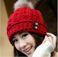 Unisex Soft Knitted Hat Raccoon Fur Ball Lady Skullies & Beanies Warmer Women Headgear Men Casual Cap Girl Bonnet Good GiftS254