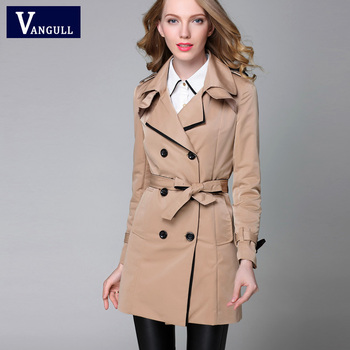 VANGULL 2016 New Fashion Designer Brand Classic European Trench Coat khaki Black Double Breasted Women Pea Coat real photos 4