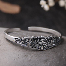 Vintage 100% 999 Sterling Silver Tribal Retro Pulseira Carving Flower Shape Bangle Cuff Opened 16mm Wide 26G For Ref