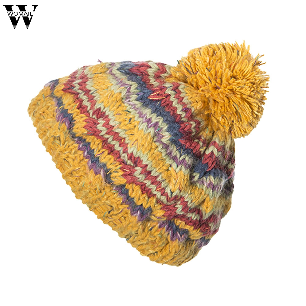 5f6068d64f3 New Hats 1PC Women Cable Knitted Bobble Hat Plain Mens Womens Beanie Warm  Winter Pom Wooly
