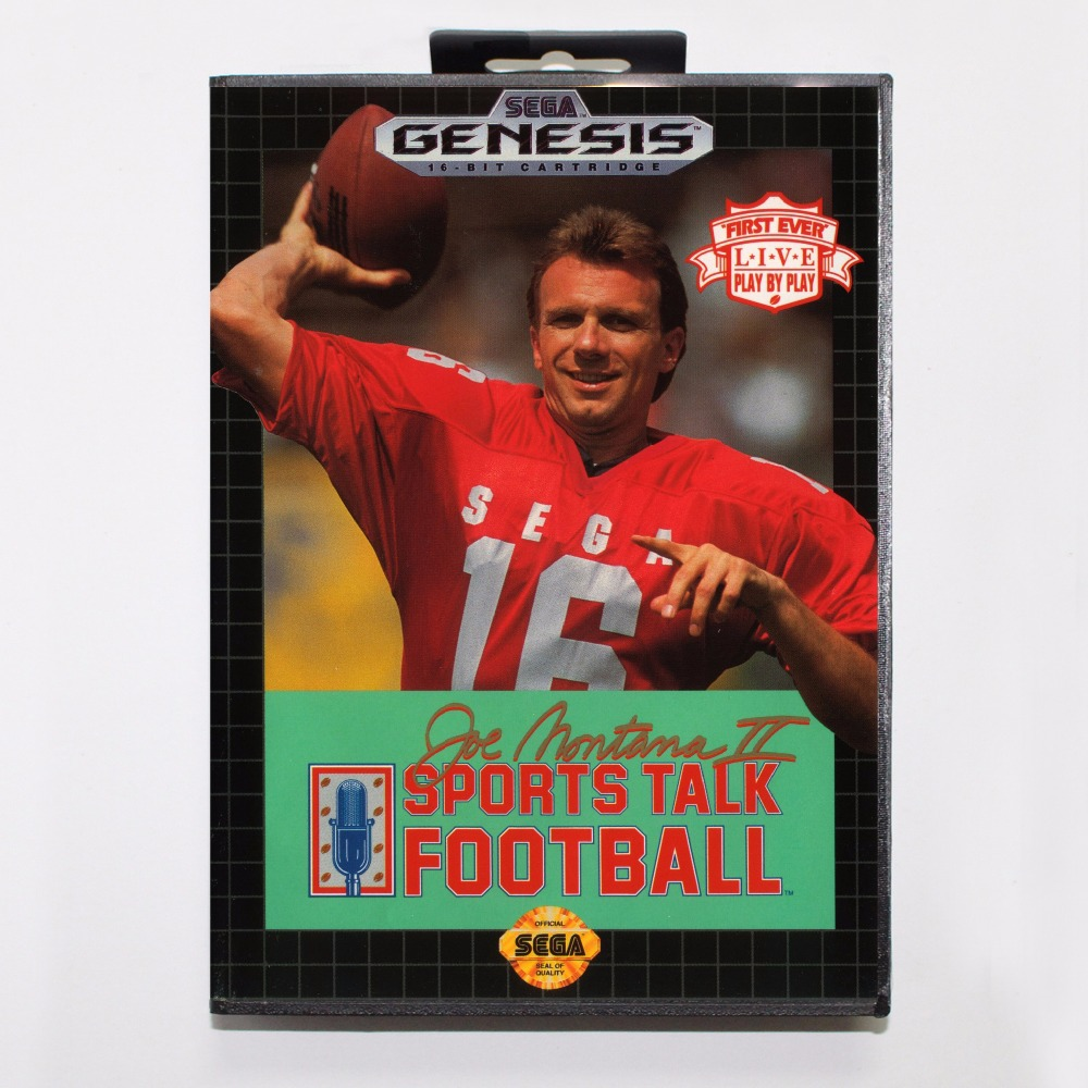 Joe Montana 2 Sports Talk Football Game Cartridge 16 bit MD Game Card With Retail Box For Sega Mega Drive For Genesis