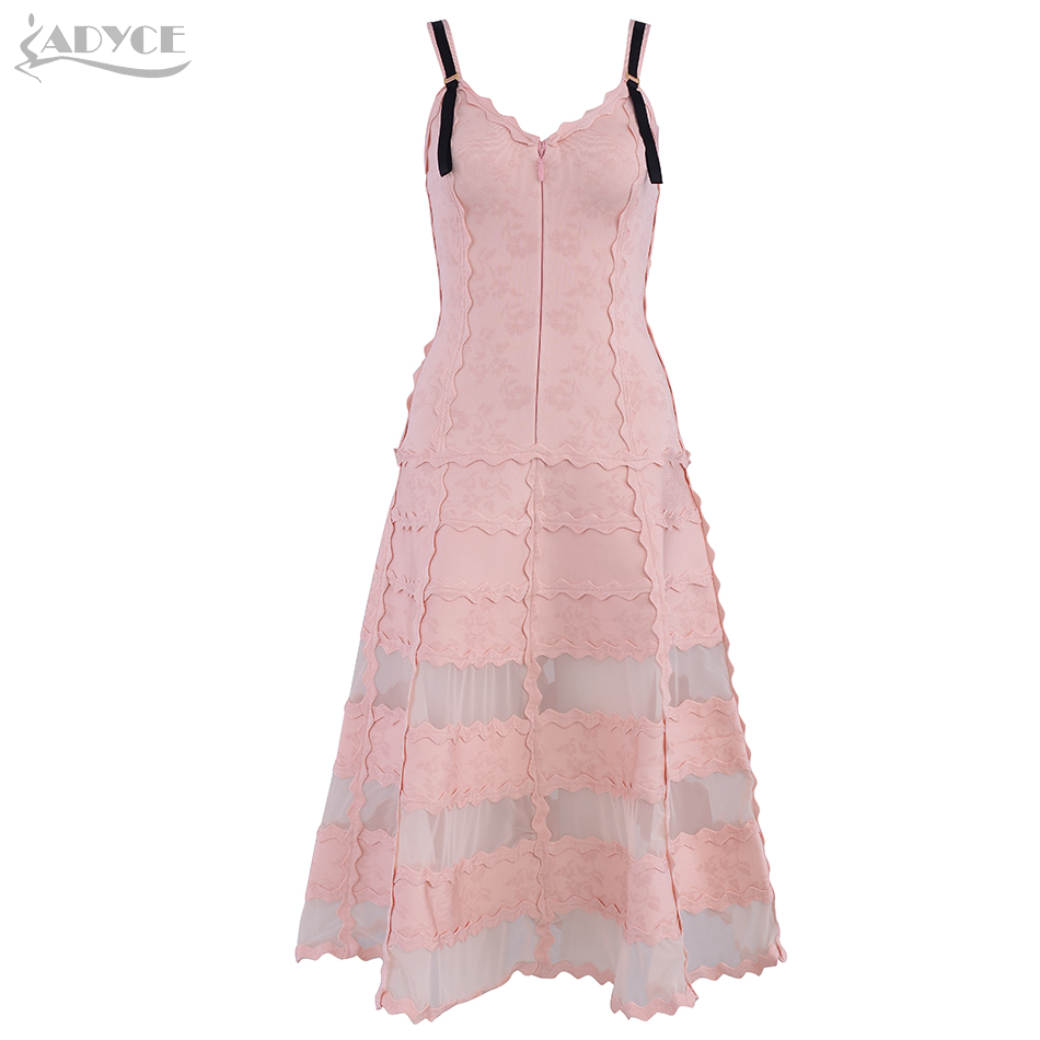 ADYCE 2019 New Summer Women Bandage Dress Sexy Pink Lace Rayon Spaghetti Strap Club Dress Elegant
