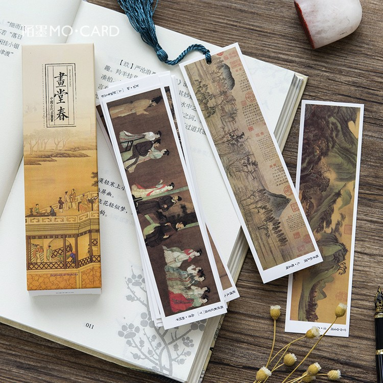 30 Pcs/lot Creative Ink Painting Paper Bookmark Stationery Bookmarks Book Holder Message Card Promotional Gift Stationery