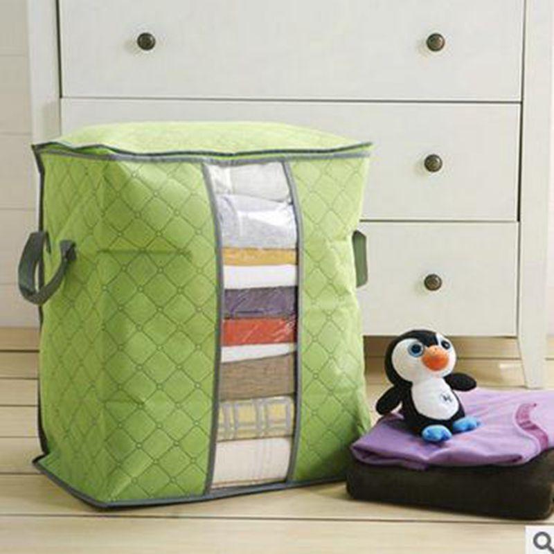 Image 3 - Portable Clothes Storage Bag Organizer Non woven Folding Closet Organizer Clothing Pillow Quilt Blanket Bedding Toys Organizer-in Storage Bags from Home & Garden
